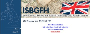 Header for the International Society for British Genealogy and Family History from their website