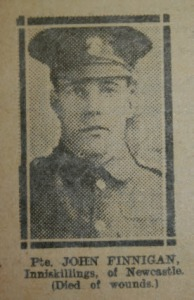 Private John Finnigan, Private John Finnegan buried 10 July 1916 in Elswick Cemetery Newcastle-Upon-Tyne